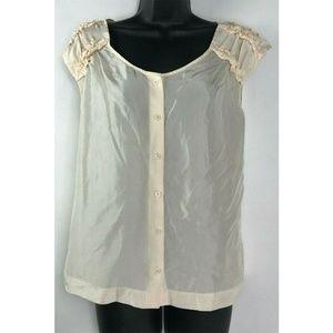 Soft Surroundings 100% Silk Ivory Ruffle Collar L